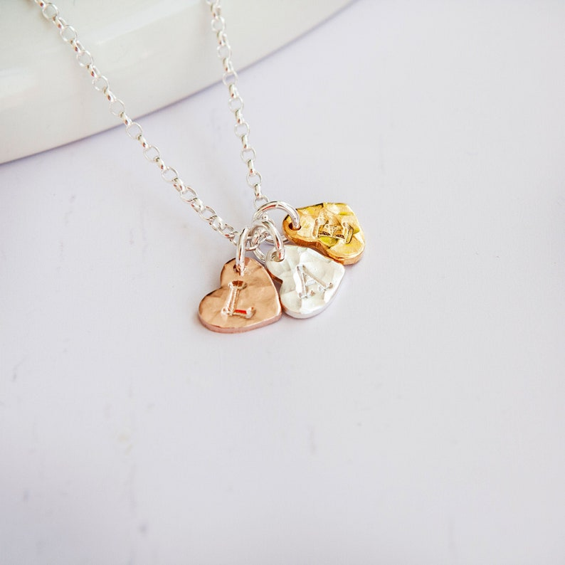 Three Hearts Necklace  Mom Necklace  Mothers Pendant  Rose image 0