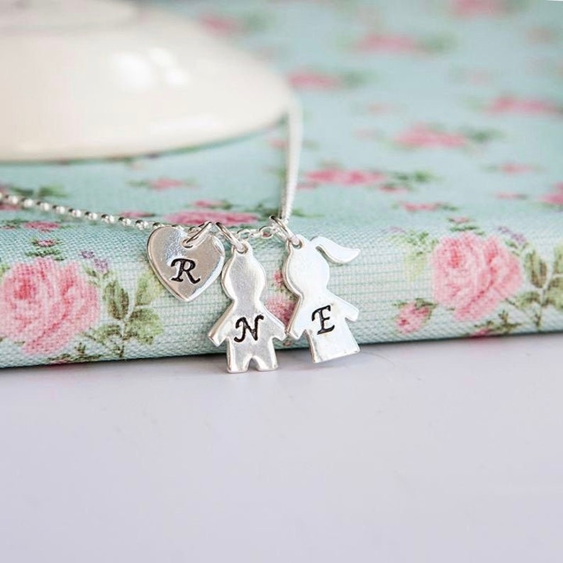 Family Necklace  Sterling Silver  Personalised Mothers image 0
