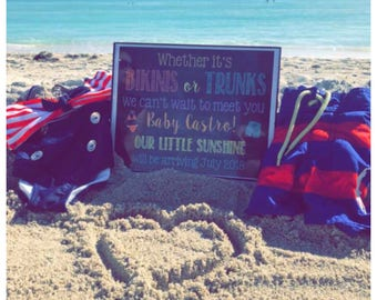 Future Beach Bum Baby Announcement; Summer Baby Announcement