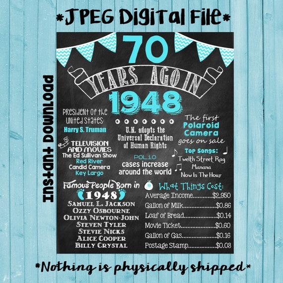 70th birthday chalkboard 1948 poster 70 years ago in 1948 born etsy