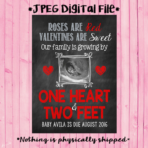 Ultrasound Valentine S Day Pregnancy Announcement Card Etsy