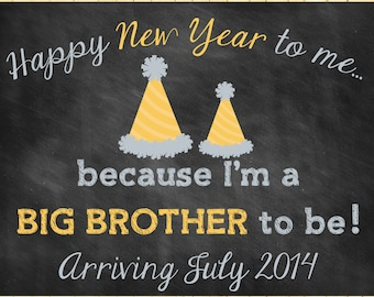 Custom Printable New Years Pregnancy Announcement // Pregnancy Reveal // Big Brother