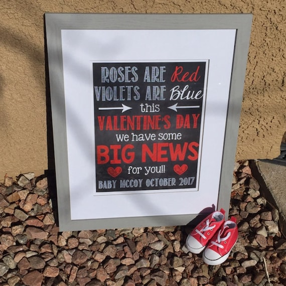Valentine S Day Pregnancy Announcement Valentine S Day Etsy