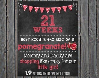 Pregnancy Countdown Chalkboard Photo Prop Sign// 16x20// Weekly - Set of 33