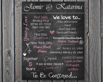 Custom Printable Engagement Party, Couple's Shower, Bridal Shower or Wedding Board Poster