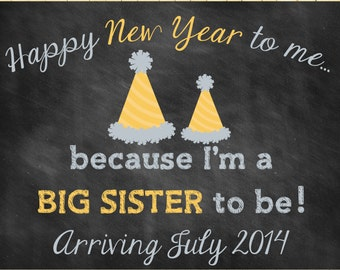 Custom Printable New Years Pregnancy Announcement // Pregnancy Reveal // Big Sister