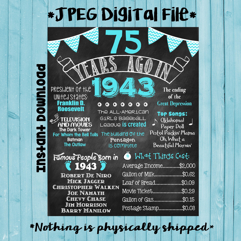 75. Geburtstag Tafel 1943 Poster 75 Jahre vor 1943 geboren in   Etsy