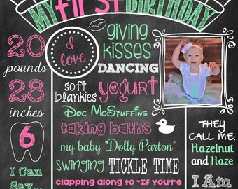 Pink First Birthday Chalkboard Girl First Birthday Poster With Picture With Photo