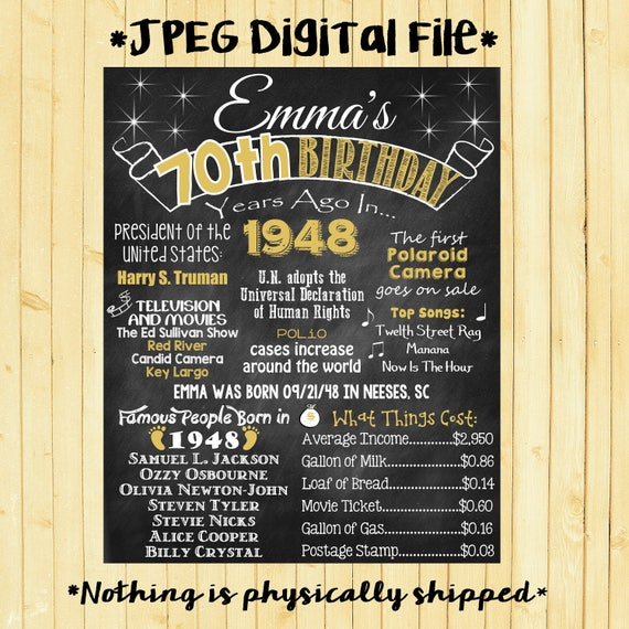 gold 70th birthday chalkboard 1948 poster 70 years ago in 1948 etsy