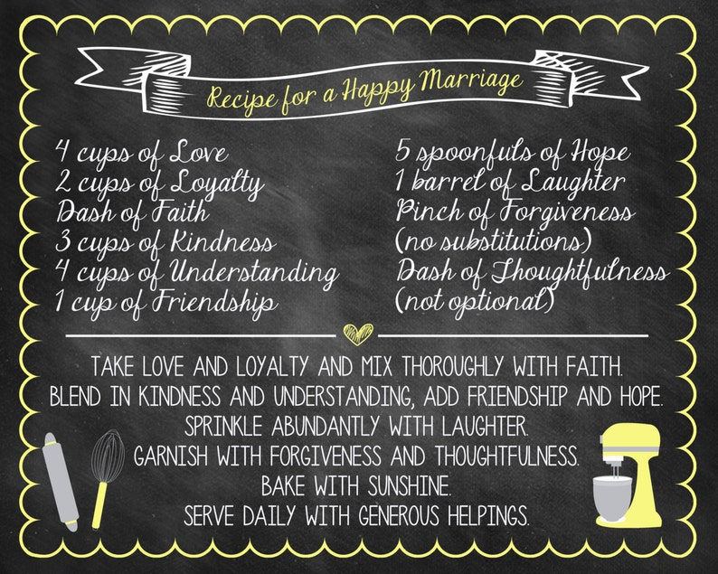 This is an image of Soft Recipe for a Happy Marriage Printable