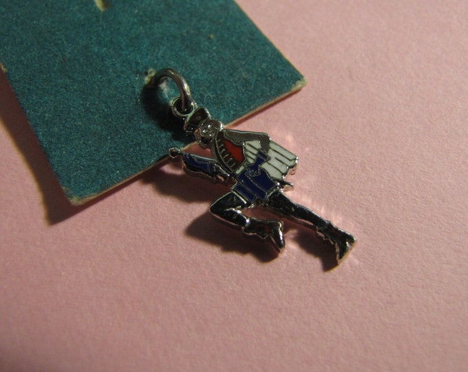 white Sterling Silver Female Charm Drum Major and blue. Enameled red