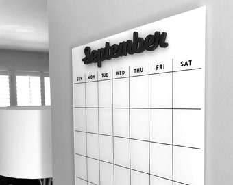 Dry erase calendar SMALL - Magnetic Acrylic calendar- with month words