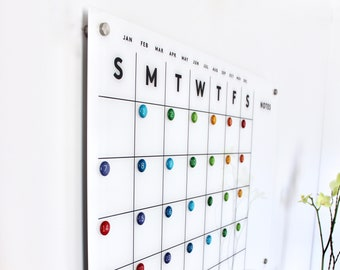 Acrylic Calendar MAGNETIC! Notes on side.  Lucite calendar -  Dry erase calendar - Magnetic calendar - MAGNET NUMBERS sold separately