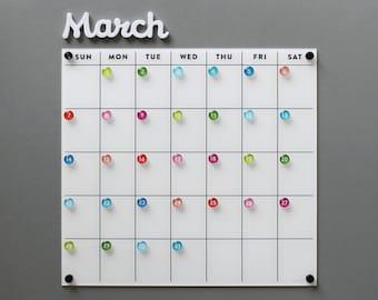 Dry erase calendar - Fridge Calendar  - Lucite calendar