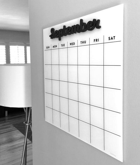 Dry Erase Calendar SMALL Magnetic Acrylic Calendar Lucite Etsy