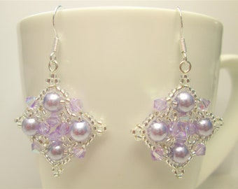 2a9702964fef Lilac and silver swarovski earrings