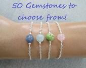 Choose your own gemstone bracelet, minimalist crystal bead jewelry, custom friendship gift, amethyst, obsidian, moonstone, aquamarine, jade