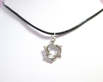 Silver circle of dolphins black choker charm pendant, dolphin necklace, choker charm necklace, dolphin choker, dolphin charm dolphin jewelry