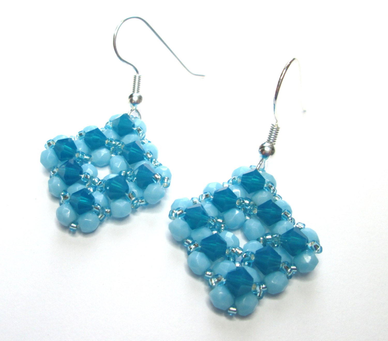 caribbean blue opal diamond shaped swarovski earrings blue. Black Bedroom Furniture Sets. Home Design Ideas
