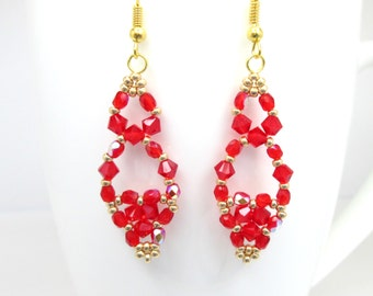 Red and gold swarovski elements earrings, red jewelry, red siam swarovski, elegant earrings, ER033