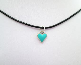 Teal mint green heart black choker charm pendant, heart necklace, choker charm necklace, valentine gift, heart jewelry,