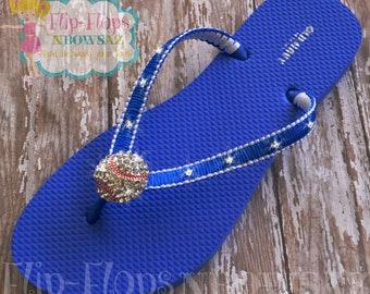 d428e7873281 Ladies Royal Blue and White Baseball Bling Flip Flops Size 8