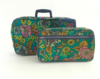 Mod Suitcase Set Matching Overnight Bag Travel Luggage Knitters Tote