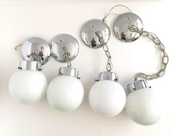 1970s  Pendant Lights, Chrome Globe Lights, Vintage Lighting, Kichler, Various Lengths, 4 Available