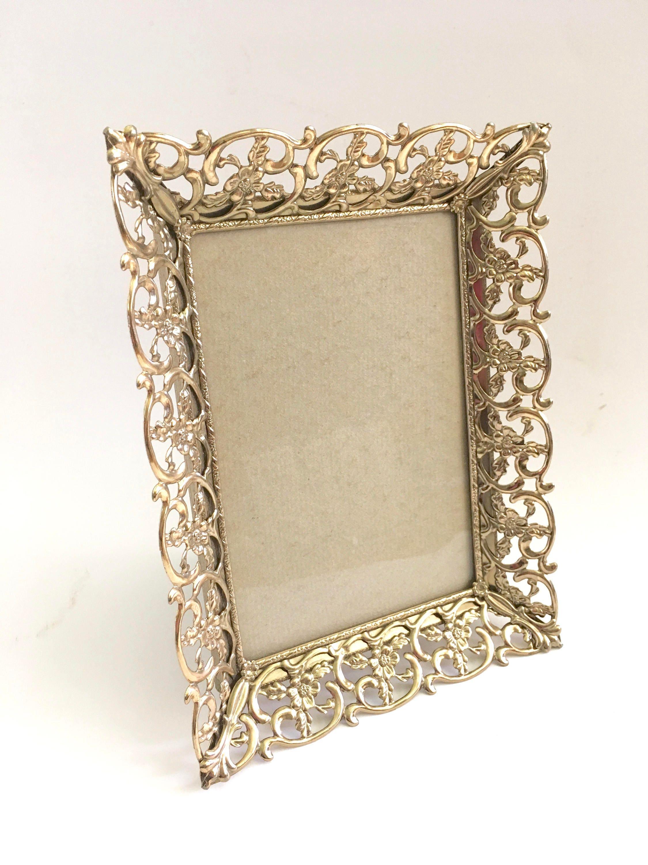 Adornado marco latón oro filigrana opulento lujo pie marco ...