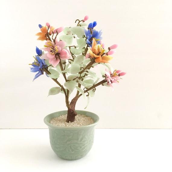 Jade Glass Flower Bonsai Tree Mid Century Colorful Chinese Etsy