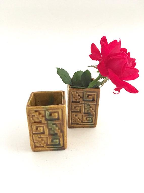 Kleine Vasen Platz Mini Blume Inhaber Oliv Glasiert Etsy