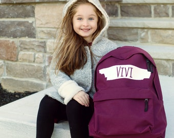 Personalised Backpack with ANY NAME Kids Children Teenagers School Uni Student rucksack