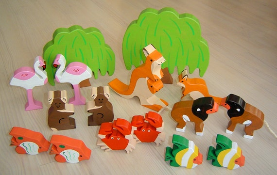 fox tree DIY pdf patterns  tutorial for 10 different wooden animals in Waldorf style wild boar snail frog