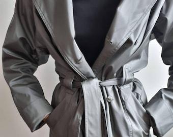 90s trenchcoat / matte silver / pvc trenchcoat  / spring coat / ectomorph coat / belted coat / latex trenchcoat / women trenchcoat / M