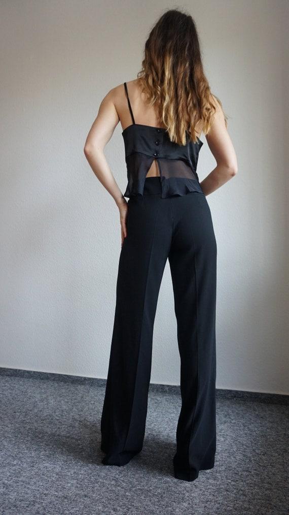 Y2k CRISTINA EFFE  Pant Suit - Crop Top - Black S… - image 1