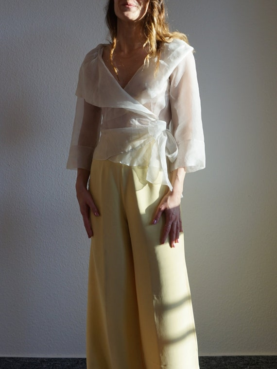 Y2K Transparent Lap Blouse - Wrap Blouse - Organza