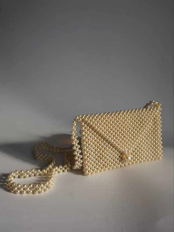 Mini Beaded Purse - Pearl Purse - Tiny Bag - Beade