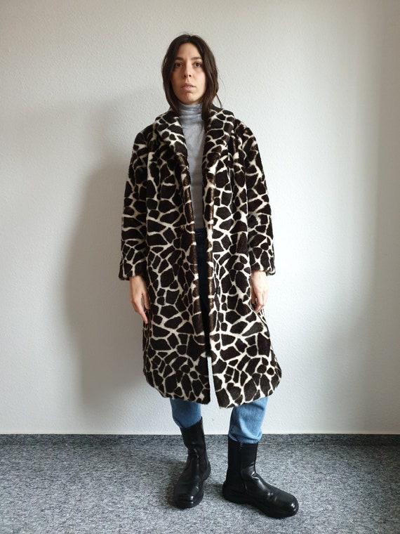 70s Giraffe Faux Fur Coat - Vintage Fake Fur Coat