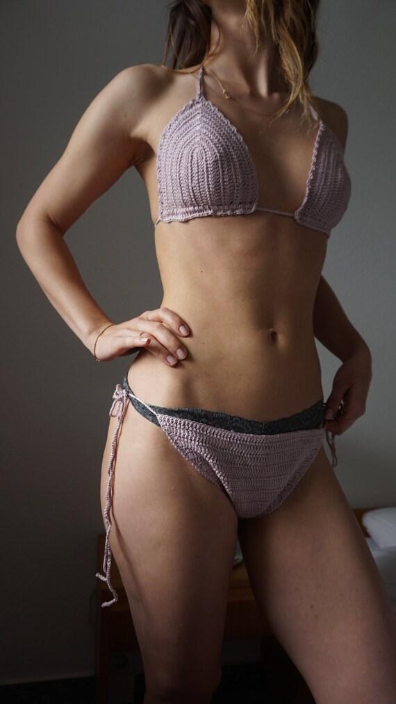70s Crochet Bikini - Boho Bikini - Knit Bikini - D