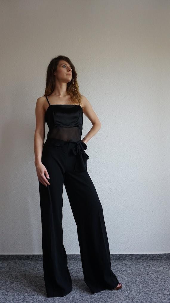 Y2k CRISTINA EFFE  Pant Suit - Crop Top - Black S… - image 6
