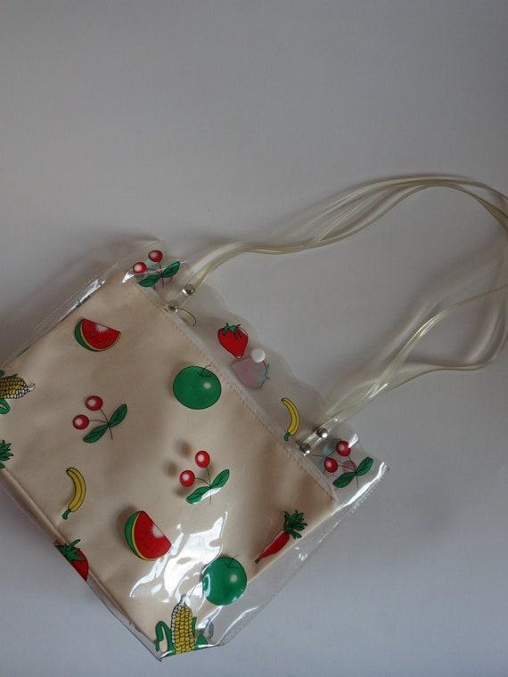 Vintage Transparent Bag - Fruity Bag- PVC Bag - Vi