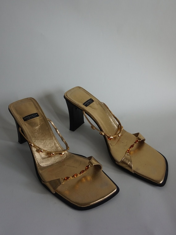 Y2k Gold Mules - Vintage Mules - Square Toe - High