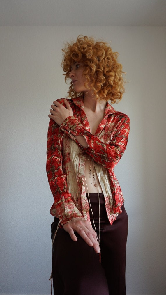 Y2k Roberto Cavalli Silk Blouse - Vintage Cavalli