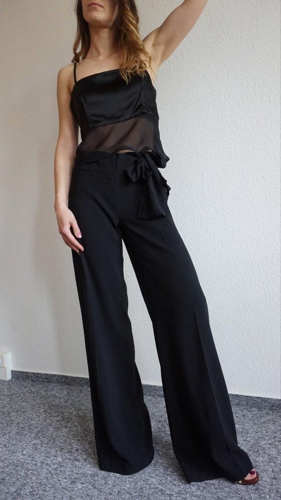 Y2k CRISTINA EFFE  Pant Suit - Crop Top - Black S… - image 8