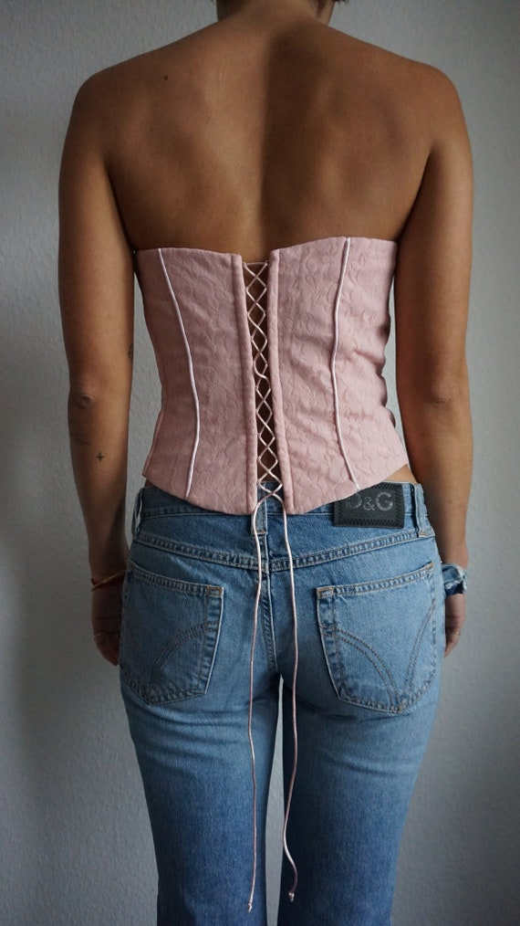 Y2k Pink Lace Corset Top - Bustier - Crop Top - S… - image 3