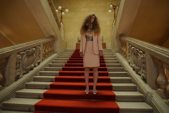 Pink Pinstripe Skirt Suit - Vintage Skirt Suit - 9