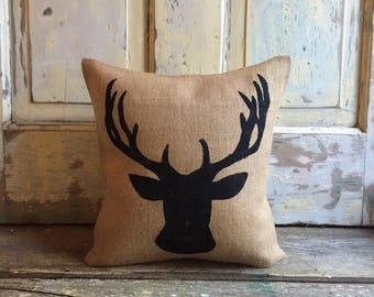 Pillow Cover | Reindeer pillow | Deer Bust | Holiday Decor | Holiday pillow | Christmas pillow | Christmas decor | Woodland Decor |