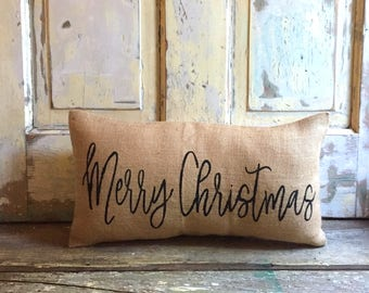 Pillow Cover | Merry Christmas pillow | Christmas pillow | Holiday decor | Christmas decor | Holiday pillow | Farmhouse