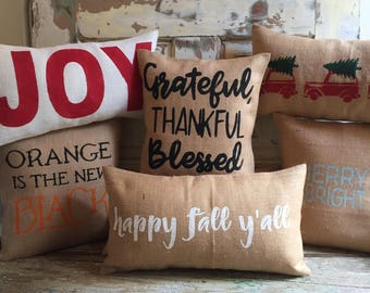 Holiday Pillow Set | 2 for 1 Holiday Pillows | Halloween Pillow | Christmas Pillow | Fall | Thanksgiving | Holiday Decor
