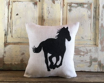 Burlap Pillow - Horse pillow | Horse Silhouette | Equestrian pillow | Horse lover | Horse decor | Tack shop | Horse gift | Gift for mom